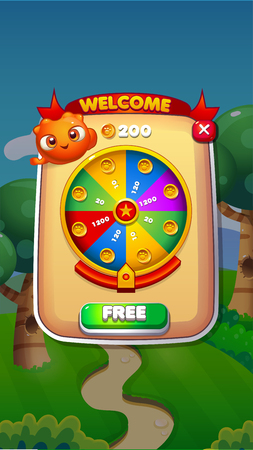 Spin Wheel Mobile Game User Interface GUI Assets Vector Eps 10