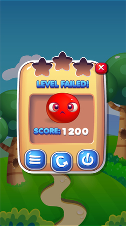Level Failed Mobile Game Benutzeroberfläche GUI Assets Vector Eps 10