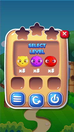 Level Select Mobile Game User Interface GUI Assets Vector Eps 10