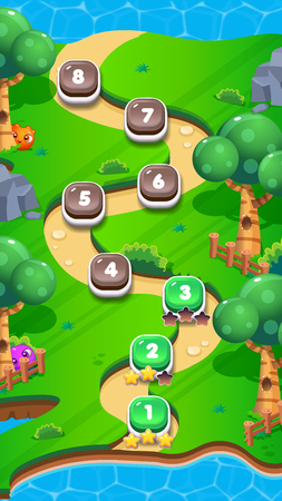 Level World Map for Mobile Games - Assets - For Game Reskin