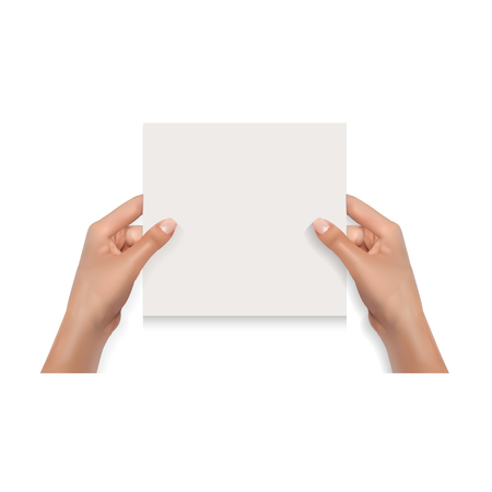 Woman Hands Holding Blank Card Isolated on White Mockup Template Çizim