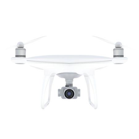 Drone Quadrocopter Realistic Vector Isolated on White Ilustração