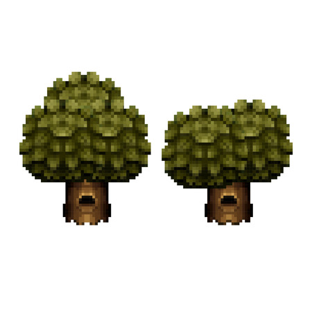 Vector Illustration of Tree - Pixel Art Design