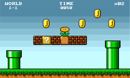 Asset di gioco platform a 8 bit pixel art