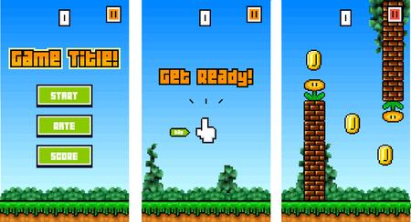 8Bit Platformer Pixel Art - Mobile Game Assets / Sprites for Reskin Vektorové ilustrace