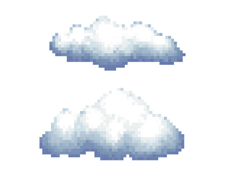 Cloud Pixel Art Illustration Isolated on White