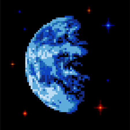 Earth pixel art. Pixelated Planet In Space. Vector illustration