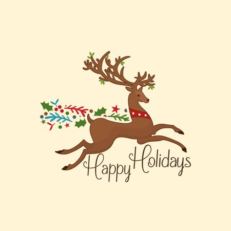 Tarjetas navideñas de papel kraft y etiquetas de regalo, estilo dibujado a mano. Ilustración vectorial