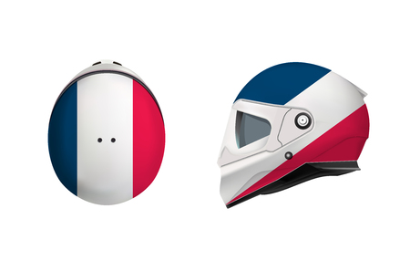 White motorbike classic helmet. Front, back and side view