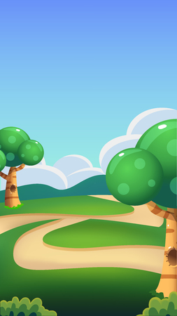 Cartoon Nature Landscape, Bright Sunny Day Illustration , Vertical Size for Mobile Phone Screens and Games Çizim
