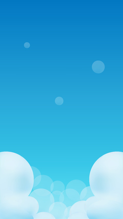 Blue gradient Sky and Clouds Vector Illustration Cartoon for Mobile Game