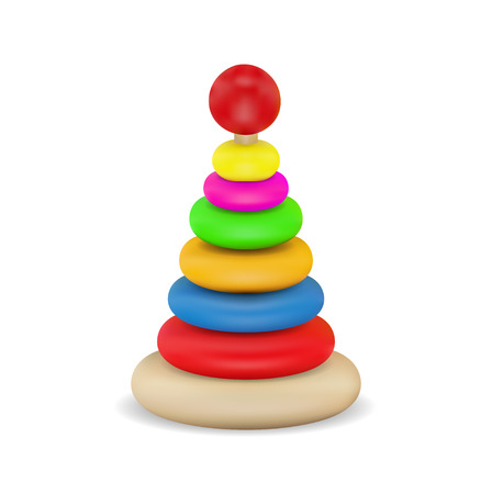 Wooden and rubber baby playing items in bright colors Çizim