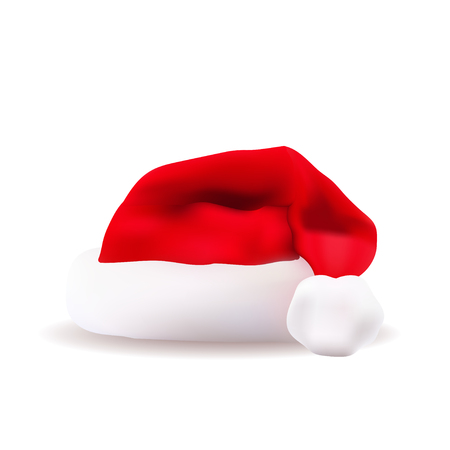 Santa red christmas hat vector illustration. Xmass holidays clothes isolated on white