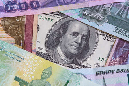 roubles: Dollars, bahts and roubles Stock Photo