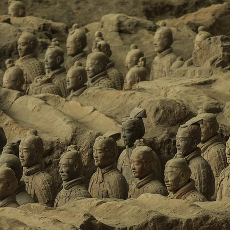 Terracotta Army is a collection of terracotta sculptures depicting the armies of Qin Shi Huang, the first Emperor of China  210-209 BCTaken 24 Mar 2014
