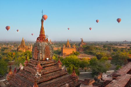 sight seeing: After sunrise in Bagan, Balloon travel start at 7 00 am to sight seeing  Editorial