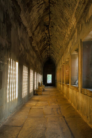 At the second corridor of Angkor Wat, Sunlight through the window effected on the wall