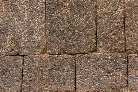 Laterite stone is a favourite material for wall, pavement, walkway etc  in ancient construction in Thailand photo