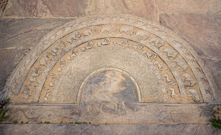 Moon Stone in ancient City Anuradhapura, Sri Lanka Editorial