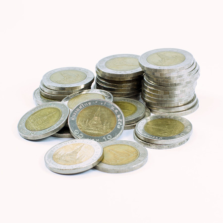 pennie: Thai 10 Baht  coins isolated on white background