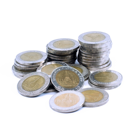 Thai 10 Baht  coins isolated on white background