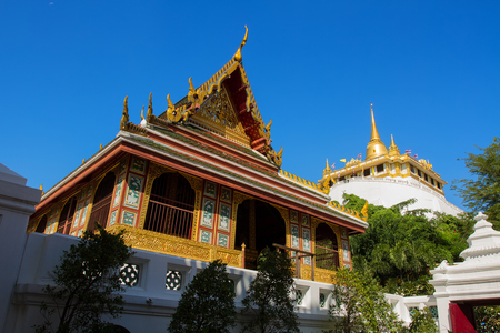 Hall for keeping the Buddhist scripture  in Wat Sraket, Bangkok, Thailand Golden mountain
