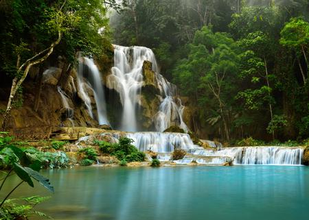 cataract waterfall: Kuang Si Waterfall is the most beautiful waterfall near Luang prabang Stock Photo