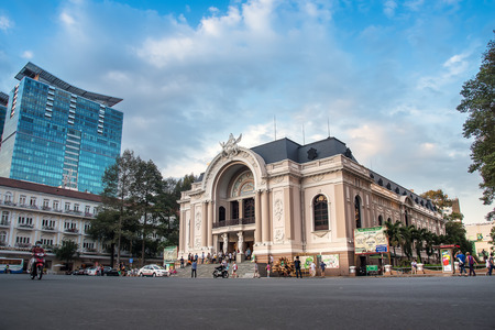 HO CHI MINH CITY, VIETNAM- FEB 28, 2015 : Saigon Opera House or Municipal Theatre in Ho Chi Minh City, Vietnam. It built in 1897 by French architect Ferret Eugene.