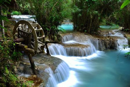 cataract waterfall: Kuang Si Waterfall is a huge waterfall in deep tropical forest near Luang prabang, Laos Stock Photo
