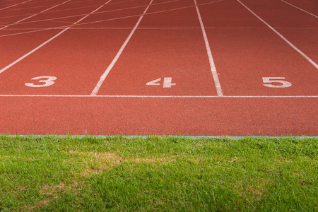 athletics track: Athletics Track Lane no. 3 - 5 with grass field