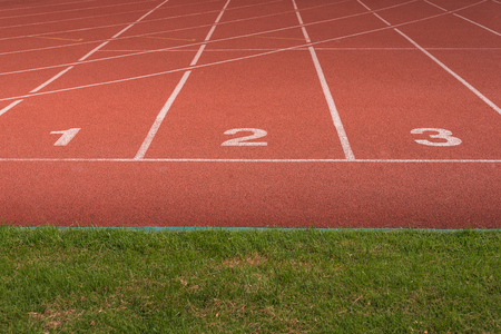 athletics track: Athletics Track Lane no. 1-3 with grass field Stock Photo