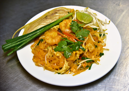foreigner: pad thai is a favourite thai food for foreigner in Thailand Stock Photo