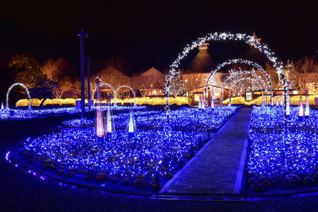 with no one: Mie, Japan - March 4, 2015: Nabana no sato winter illumination in Mie province is one of Japans largest illumination parks.