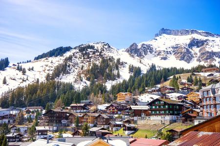 oberland: Murren, Switzerland - April 10, 2016 : Murren is a mountain village in Bernese Oberland, Switzerland. It is a popular for tourist to ski and go to Schilthorn peak.