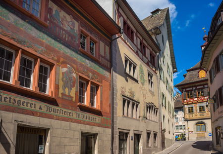 attractiveness: Schaffhausen, Switzerland - April 12, 2016 : Stein Am Rhein is the ancient city in medieval age. The unique architecture and exterior wall painting are attractiveness for tourist to visit. Editorial