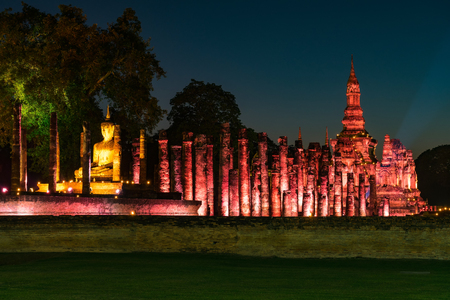 sight seeing: sukhothai historical park, world heritage site in Thailand were illuminated in the light show between 10 december 2016 - 3 january 2017.