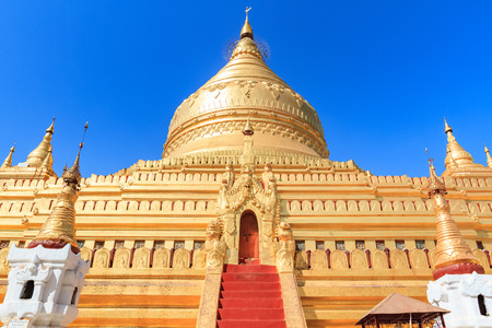 The golden Shwezigon Paya located in Nyaung-U, near Bagan. One of the most attractive destination in Myanmar.