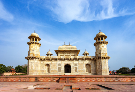 Tomb of Itmad-ud-Daula, a Mughal mausoleum in Agra. Built from red sandstone with marble decorations.