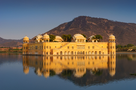 Jal mahal is a five storied building was built in man sakar lake,three or four floors remain underwater depend on water level. Stock Photo