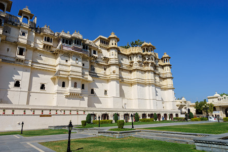facade of Udaipurs city palace. rajasthan, india