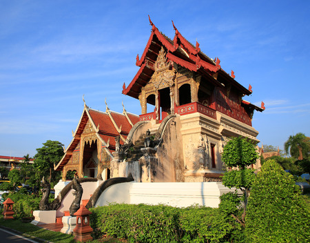 Chiang mai, Thailand-April 29, 2018: Tripitaka hall of Wat Phra Singh is a traditional Lanna architecture in the north of Thailand. Tripitaka hall is a building for keeping the Buddhist scriptures.
