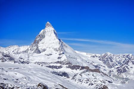 Panorama view of Matterhorn Peak, a view from Gornergrat train station, Zermatt, Switzerland