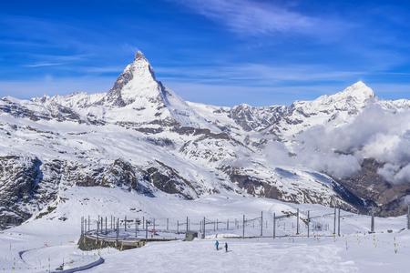 Panorama view of Matterhorn Peak from Gornergrat train station, Zermatt, Switzerland Stock Photo