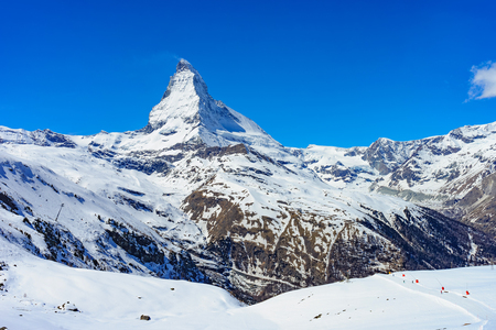 A view of Matterhorn peak in a sunny day with clear blue sky. Stock Photo