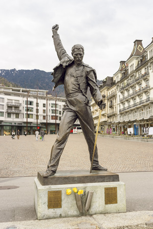 Montreux, Switzerland - April 15, 2016: Statue of Freddie Mercury, the singer of famous rock band