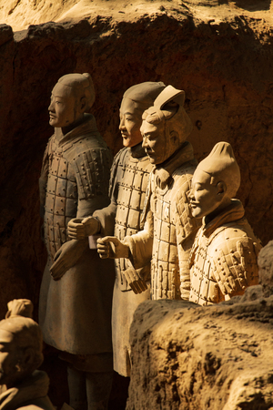 XI'AN, CHINA - MARCH 24, 2014: Terracotta Army is a collection of terracotta sculptures depicting the armies of Qin Shi Huang, the first Emperor of China. 210-209 BC