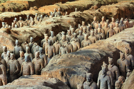 XI'AN, CHINA - MARCH 24, 2014: Terracotta Army is a collection of terracotta sculptures depicting the armies of Qin Shi Huang, the first Emperor of China. 210-209 BC Editorial