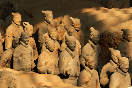 XIAN, CHINA - MARCH 24, 2014: Terracotta Army is a collection of terracotta sculptures depicting the armies of Qin Shi Huang, the first Emperor of China. 210-209 BC