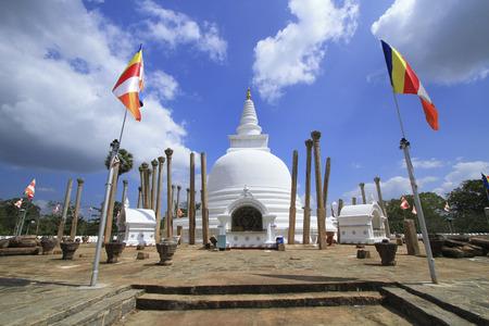Anuradhapura, Sri lanka- JAN 24, 2014: Thuparamaya is the oldest dagoba in Anuradhapura. It is a Buddhist sacred place of veneration.