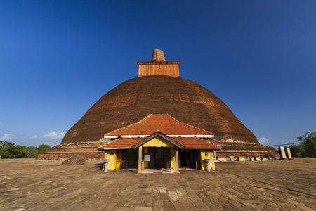 Anuradhapura, Sri lanka- JAN 24, 2014: Jetavanaramaya dagoba is a Buddhist sacred monastery. One of the focal points of the complex in Anuradhapura.